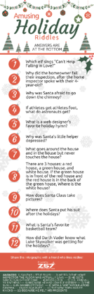 Z57 - Amusing Holiday Riddles infographic - with answers
